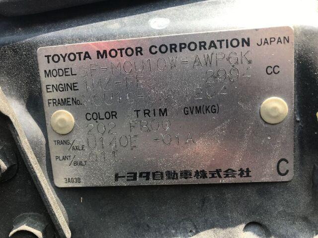 Капот на Toyota Harrier MCU10W