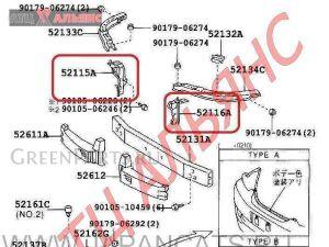 Крепление бампера на Toyota Mark II GX115 1G-FE
